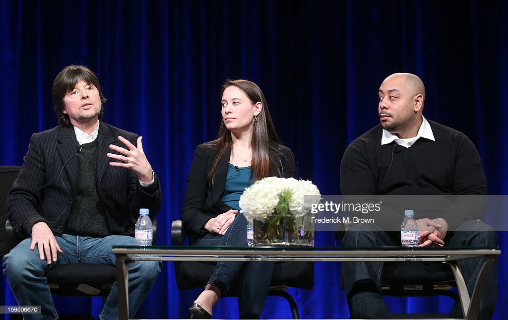 Filmmakers Ken Burns and daughter Sarah Burns and Raymond Santana, featured subject, of 'The Central Park Five' speak onstage during the PBS portion of the 2013 Winter Television Critics Association Press Tour at the Langham Huntington Hotel & Spa on January 14, 2013 in Pasadena, California.