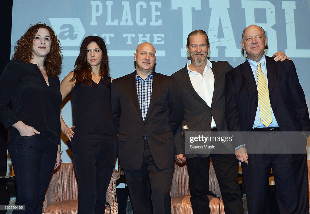 Filmmakers Kristi Jacobson Lori Silverbush executive producer Tom Colicchio Jeff Bridges Founder of End Hunger Network and Bill Shore Founder and CEO...