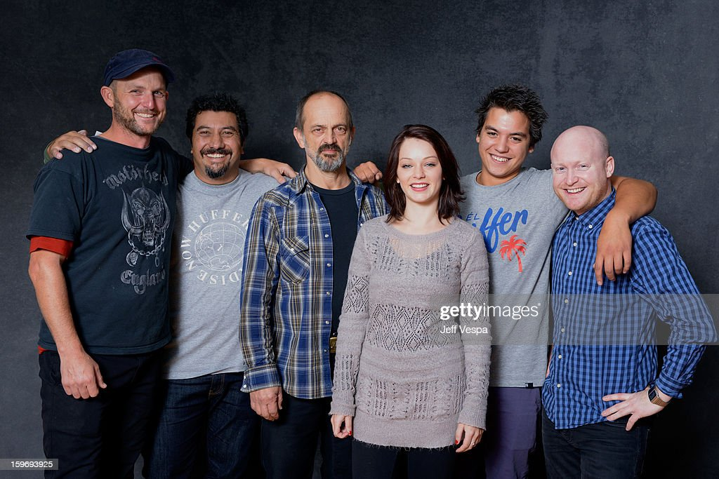 Filmmakers Mark Albiston, Louis Sutherland, actors Jacek Koman, Laura Petersen, Kevin Paulo, and Byron Coil pose for a portrait during the 2013 Sundance Film Festival at the WireImage Portrait Studio at Village At The Lift on January 18, 2013 in Park City, Utah.