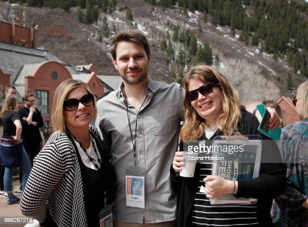 Filmmakers Melissa Beauford Frederic Hambalek and Desiree Andrews attend the 2017 Aspen Shortsfest filmmakers breakout sessions on April 7 2017 at...