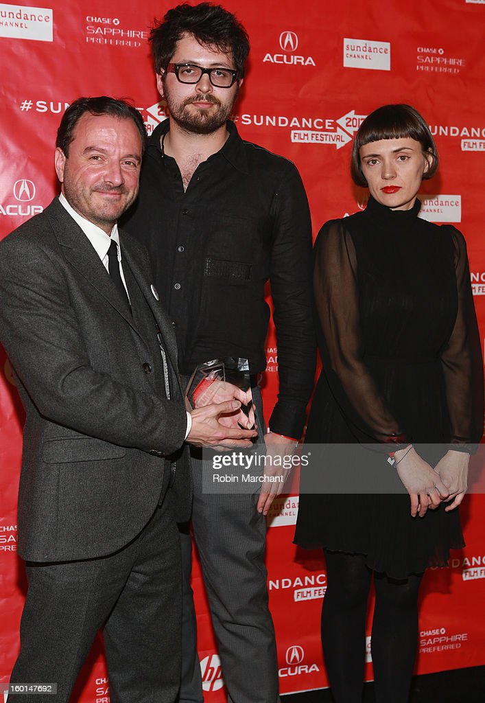 Filmmakers Mike Lerner, Maxim Pozdorovkin and Xenia Grubstein pose with award for World Cinema Documentary Special Jury Award for Pussy Riot – A Punk Prayer at the Awards Night Ceremony during the 2013 Sundance Film Festival at Basin Recreation Field House on January 26, 2013 in Park City, Utah.
