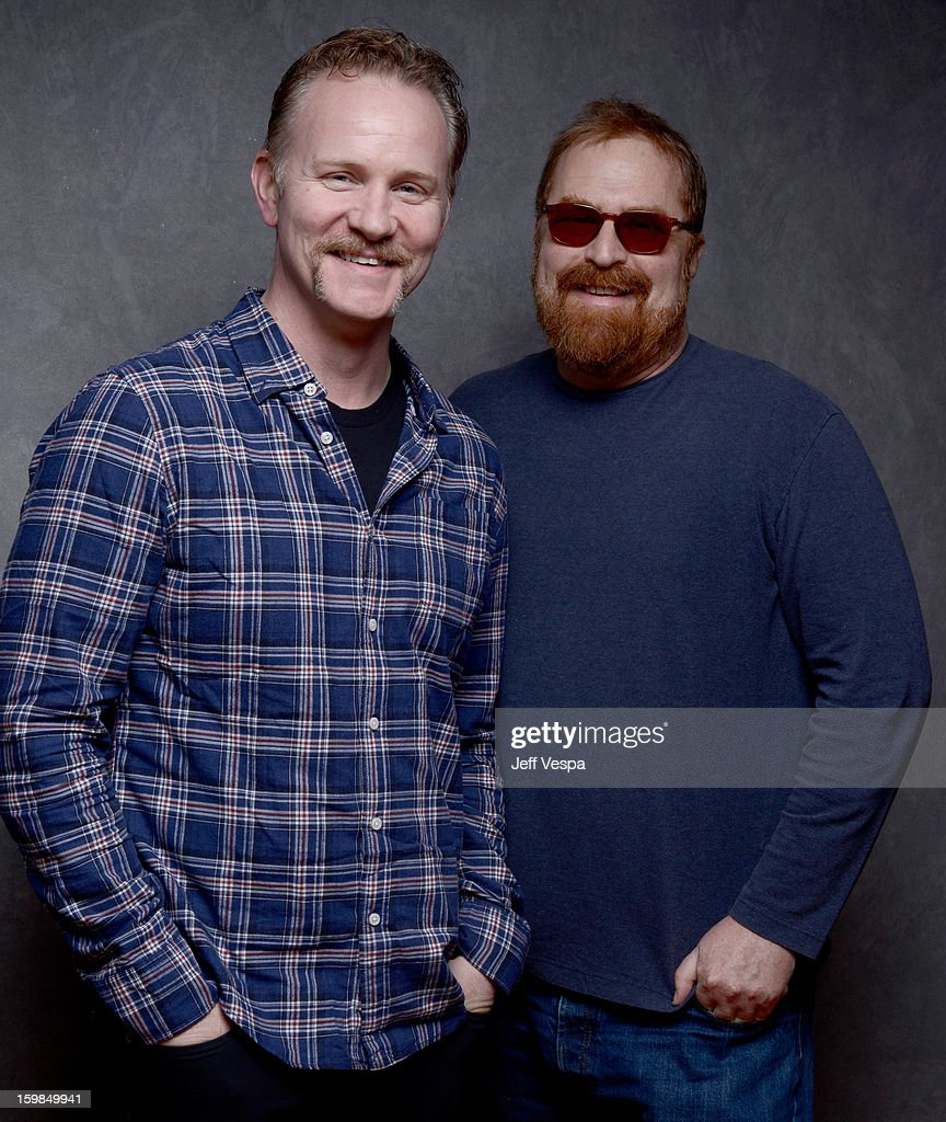 Filmmakers <a gi-track='captionPersonalityLinkClicked' href=/galleries/search?phrase=Morgan+Spurlock&family=editorial&specificpeople=212719 ng-click='$event.stopPropagation()'>Morgan Spurlock</a> (L) and R.J. Cutler pose for a portrait during the 2013 Sundance Film Festival at the WireImage Portrait Studio at Village At The Lift on January 21 2013 in Park City, Utah.