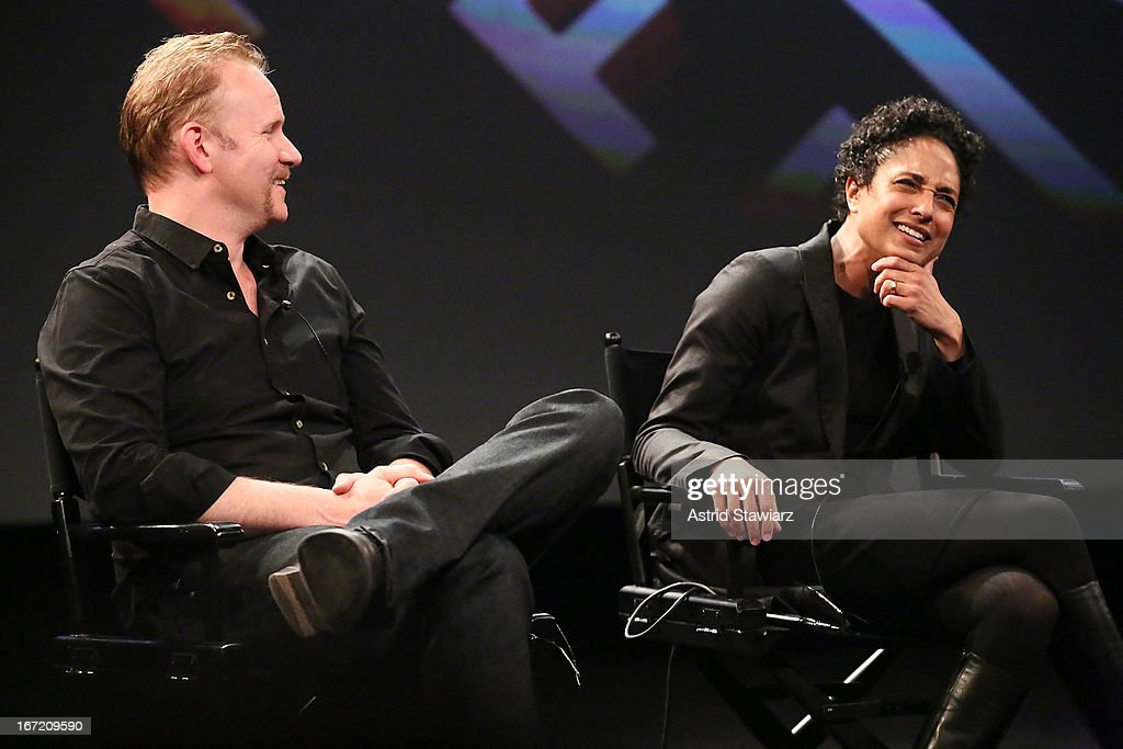 Filmmakers <a gi-track='captionPersonalityLinkClicked' href=/galleries/search?phrase=Morgan+Spurlock&family=editorial&specificpeople=212719 ng-click='$event.stopPropagation()'>Morgan Spurlock</a> and Shola Lynch attend the Tribeca Talks: The Business of Entertainment: Truth, Persuasion And Bias In Documentaries event at the 2013 Tribeca Film Festival on April 22, 2013 in New York City.