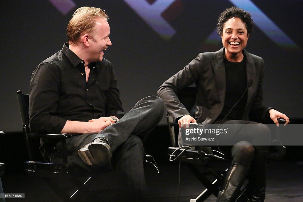 Filmmakers Morgan Spurlock and Shola Lynch attend the Tribeca Talks: The Business of Entertainment: Truth, Persuasion And Bias In Documentaries event at the 2013 Tribeca Film Festival on April 22, 2013 in New York City.