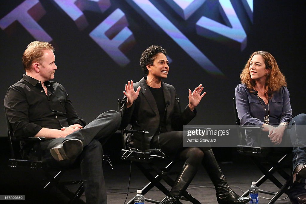 Filmmakers Morgan Spurlock, Shola Lynch and Kristi Jacobson attend the Tribeca Talks: The Business of Entertainment: Truth, Persuasion And Bias In Documentaries event at the 2013 Tribeca Film Festival on April 22, 2013 in New York City.