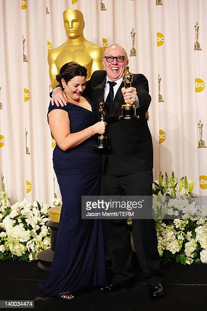 Filmmakers Oorlagh George and Terry George winners the Best Short Film Award for 'The Shore' pose in the press room at the 84th Annual Academy Awards...