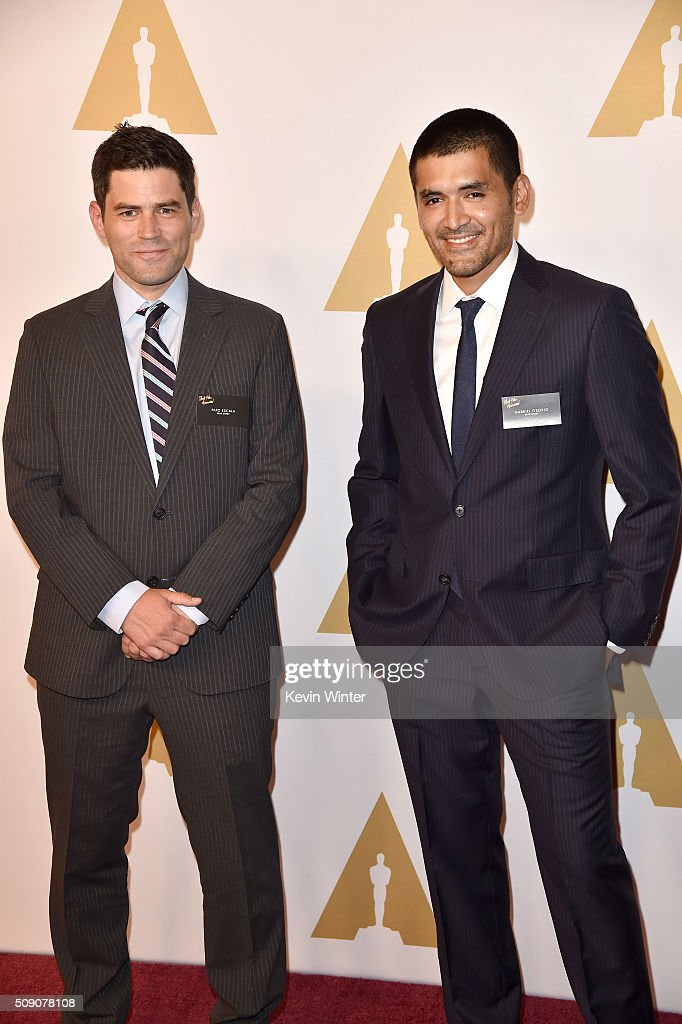 Filmmakers Pato Escala (L) and Gabriel Osorio attend the 88th Annual Academy Awards nominee luncheon on February 8, 2016 in Beverly Hills, California.