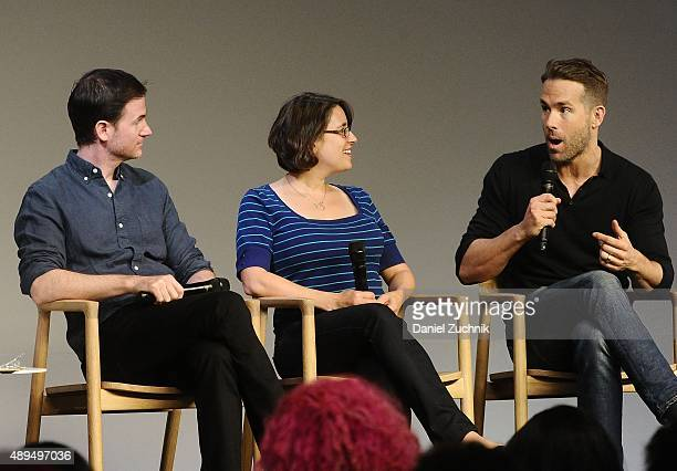 Filmmakers Ryan Flek and Anna Boden with actor Ryan Reynolds discuss their new film 'Mississippi Grind' at Apple Store Soho on September 21 2015 in...