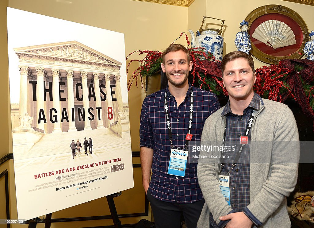 Filmmakers <a gi-track='captionPersonalityLinkClicked' href=/galleries/search?phrase=Ryan+White&family=editorial&specificpeople=225044 ng-click='$event.stopPropagation()'>Ryan White</a> and Ben Cotner attend the HBO & HRC Wedding Reception For The Case Against 8 on January 18, 2014 in Park City, Utah.