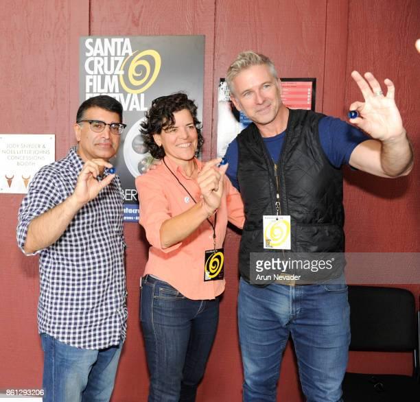 Filmmakers Samir Arora Jacki Nunez and Wallace J Nichols appear for the screening of Straws at the Santa Cruz Film Festival at the Tannery Arts...