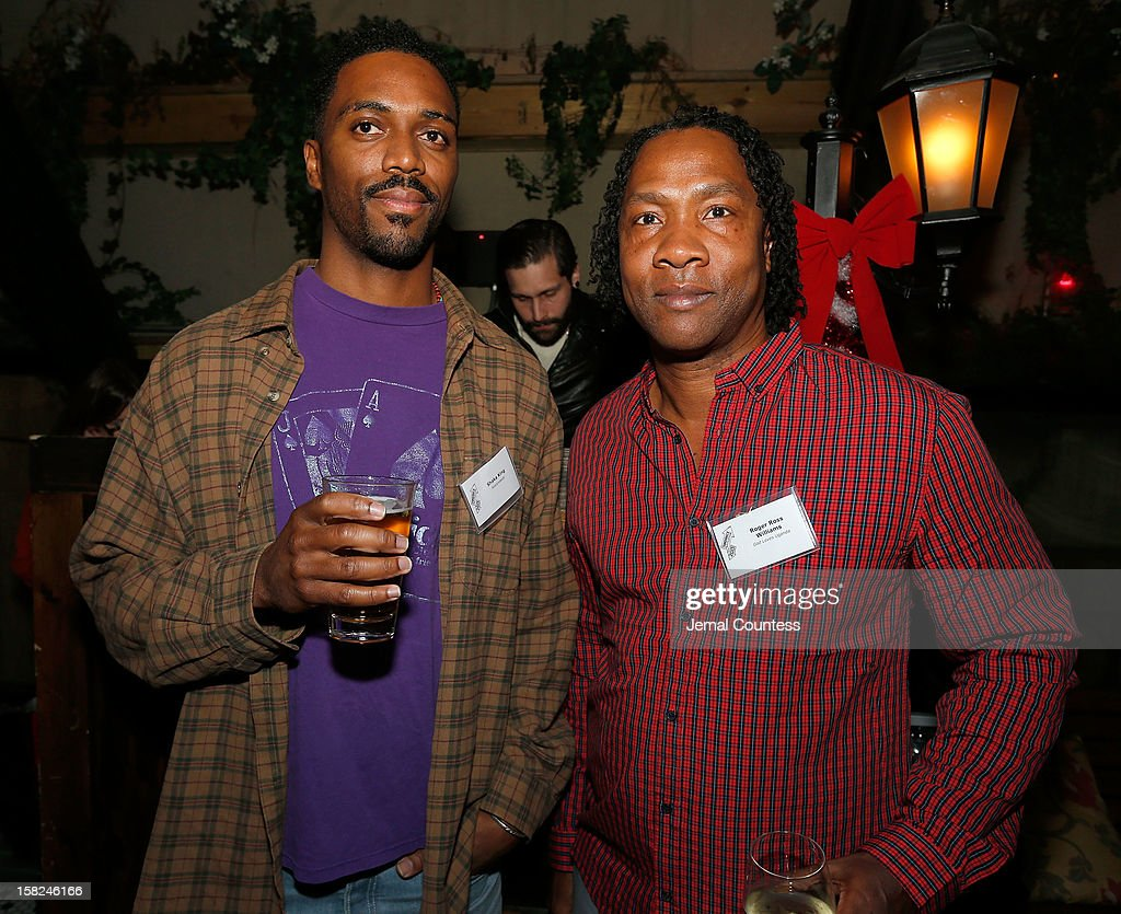 Filmmakers Shaka King and <a gi-track='captionPersonalityLinkClicked' href=/galleries/search?phrase=Roger+Ross+Williams&family=editorial&specificpeople=6824225 ng-click='$event.stopPropagation()'>Roger Ross Williams</a> attend the 2012 Sundance Film Festival Filmmaker Orientation at Hotel Chantelle on December 11, 2012 in New York City.