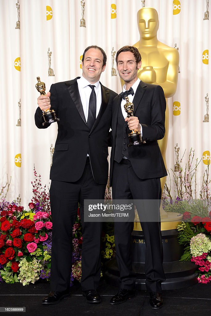 Filmmakers Simon Chinn (L) and Malik Bendjelloul, winners of the Best Documentary – Feature award for 'Searching for Sugar Man,' pose in the press room during the Oscars held at Loews Hollywood Hotel on February 24, 2013 in Hollywood, California.
