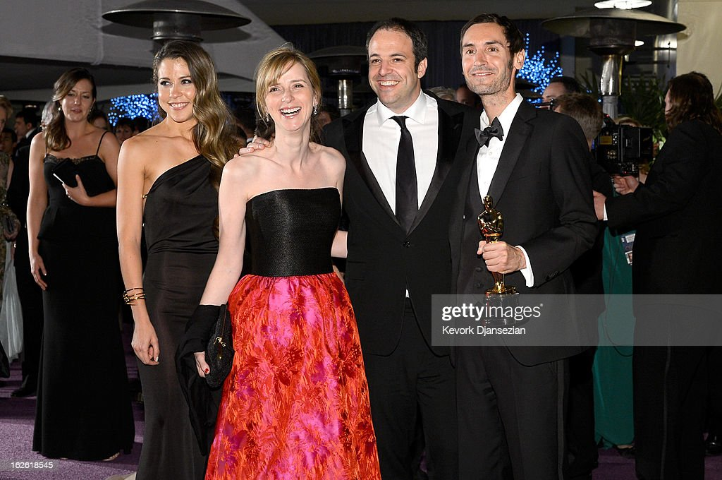 Filmmakers Simon Chinn (2nd from L) and Malik Bendjelloul (2nd from R), winners of the Best Documentary ? Feature award for 'Searching for Sugar Man,' attends the Oscars Governors Ball at Hollywood & Highland Center on February 24, 2013 in Hollywood, California.