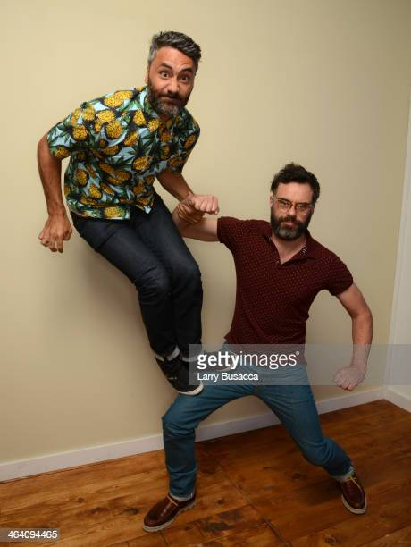Filmmakers Taika Waititi and Jermaine Clement pose for a portrait during the 2014 Sundance Film Festival at the WireImage Portrait Studio at the...