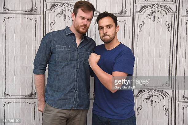 Filmmaker/screenwriter Joe Swanberg and actor/screenwriter Jake Johnson attend AOL's BUILD Speaker Series presents 'Digging For Fire' AOL Studios in...