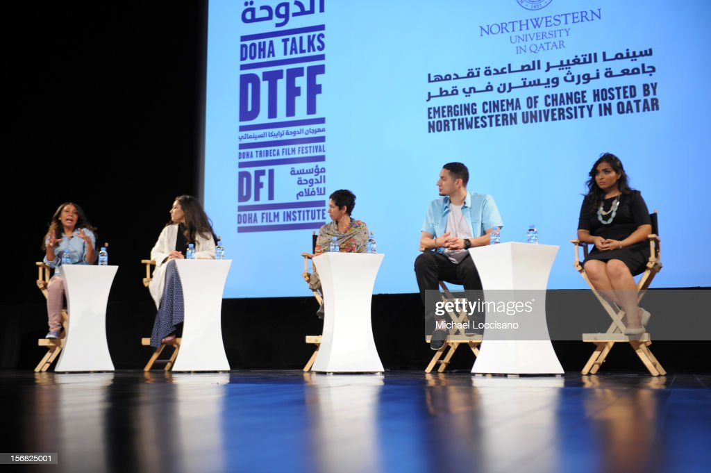Filmmkers Haifaa Al-Mansour,Hanan Abdalla,director Nadia Rais, hip hop artist Omar Offendum and Shannon Farhoud Executive Director, Torath Media Production attends the Emerging Cinema of Change Hosted by Northwestern University In Qatar at the Katara Opera House during 2012 Doha Tribeca Film Festival on November 22, 2012 in Doha, Qatar.
