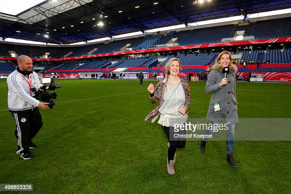 TV films Jule Goelsdorf DFBTV moderator and winner Stephanie Schwehm of the Meet and Greet of the Fanclub Nationalmannschaft prior to the Women's...