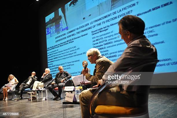 Film's president Director General Jan Mojto speaks during a debate during the 17th Festival of TV fiction in La Rochelle on September 11 2015 AFP...