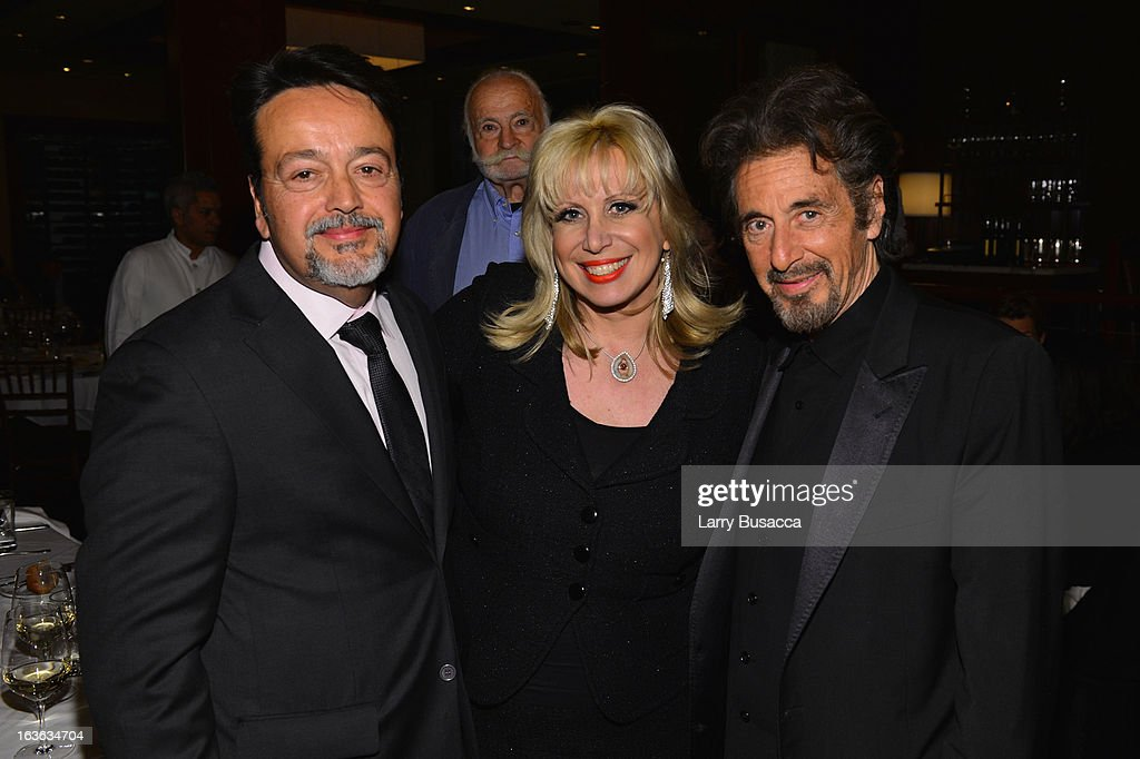 HBO Films president Len Amato, Linda Kenney Baden, and actor <a gi-track='captionPersonalityLinkClicked' href=/galleries/search?phrase=Al+Pacino&family=editorial&specificpeople=202658 ng-click='$event.stopPropagation()'>Al Pacino</a> attend the after party for the 'Phil Spector' premiere at the Time Warner Center on March 13, 2013 in New York City.