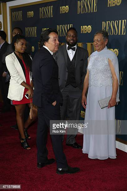 Films president Len Amato poses with Beverly Ann Clarke granddaughter of Bessie Smith and family at the 'Bessie' New York screening at The Museum of...