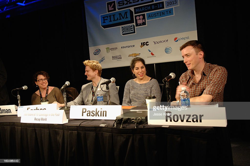 Film/TV editor Stephanie Goodman, Jason Forbes, Managing Director Zeebox USA, TV critic Willa Paskin and Chris Rovzar, Digital Editor Vanity Fair speak onstage at The Future Of TV Coverage In A Post-Recap World during the 2013 SXSW Music, Film + Interactive Festival at Austin Convention Center on March 10, 2013 in Austin, Texas.