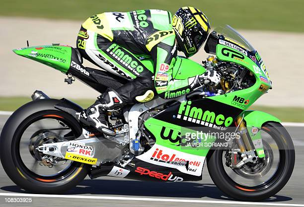 Fimmco Speed team's Italian rider Andrea Iannone rides his bike during a Moto2 practice session at Valencia's MotoGP Grand Prix at Ricardo Tormo race...