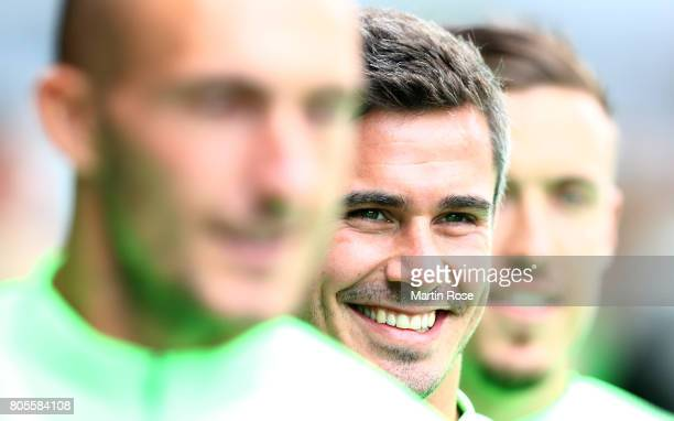 Fin Bartels looks on during a Werder Bremen training session at Weserstadion on July 2 2017 in Bremen Germany