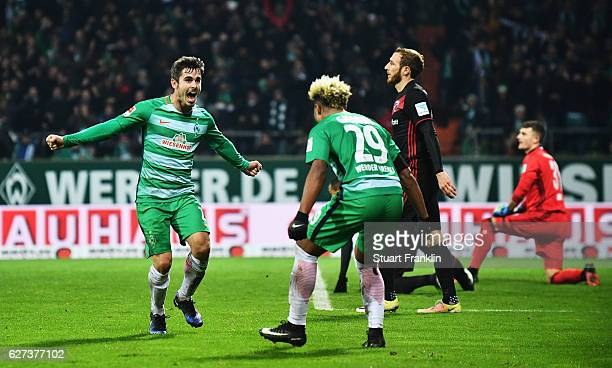 Fin Bartels of Bremen celebrates scoring the second goal with Serge Gnabry during the Bundesliga match between Werder Bremen and FC Ingolstadt 04 at...
