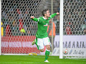 Fin Bartels of Bremen celebrates scoring the winning goal during the Bundesliga match between SV Werder Bremen and Borussia Dortmund at Weserstadion...