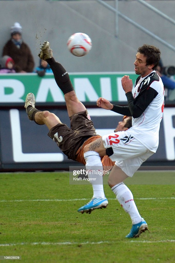 <a gi-track='captionPersonalityLinkClicked' href=/galleries/search?phrase=Fin+Bartels&family=editorial&specificpeople=3967950 ng-click='$event.stopPropagation()'>Fin Bartels</a> (L) of St. Pauli challenges <a gi-track='captionPersonalityLinkClicked' href=/galleries/search?phrase=Fabrice+Ehret&family=editorial&specificpeople=754522 ng-click='$event.stopPropagation()'>Fabrice Ehret</a> (R) of Koeln during the Bundesliga match between FC St. Pauli and 1. FC Koeln at Millerntor Stadium on January 29, 2011 in Hamburg, Germany.