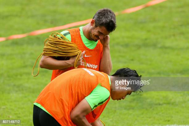 Fin Bartels of Werder Bremen and Yuning Zhang of Werder Bremen looks on during the Training Camp of SV Werder Bremen on July 13 2017 in Zell am...