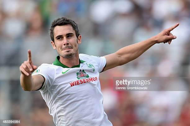 Fin Bartels of Werder Bremen celebrates as he scores the second goal during the DFB Cup First Round match between Wuerzburger Kickers and Werder...