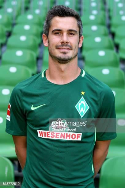 Fin Bartels of Werder Bremen poses during the team presentation at Weser Stadium on July 19 2017 in Bremen Germany