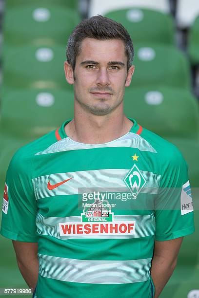 Fin Bartels poses during the offical team presentation of Werder Bremen on July 20 2016 in Bremen Germany