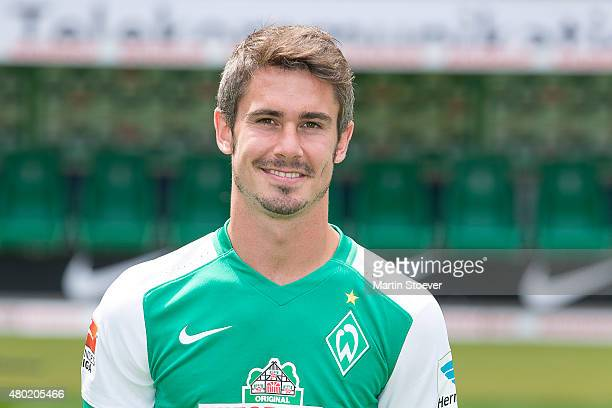 Fin Bartels poses during the official team presentation of Werder Bremen at Weserstadion on July 10 2015 in Bremen Germany