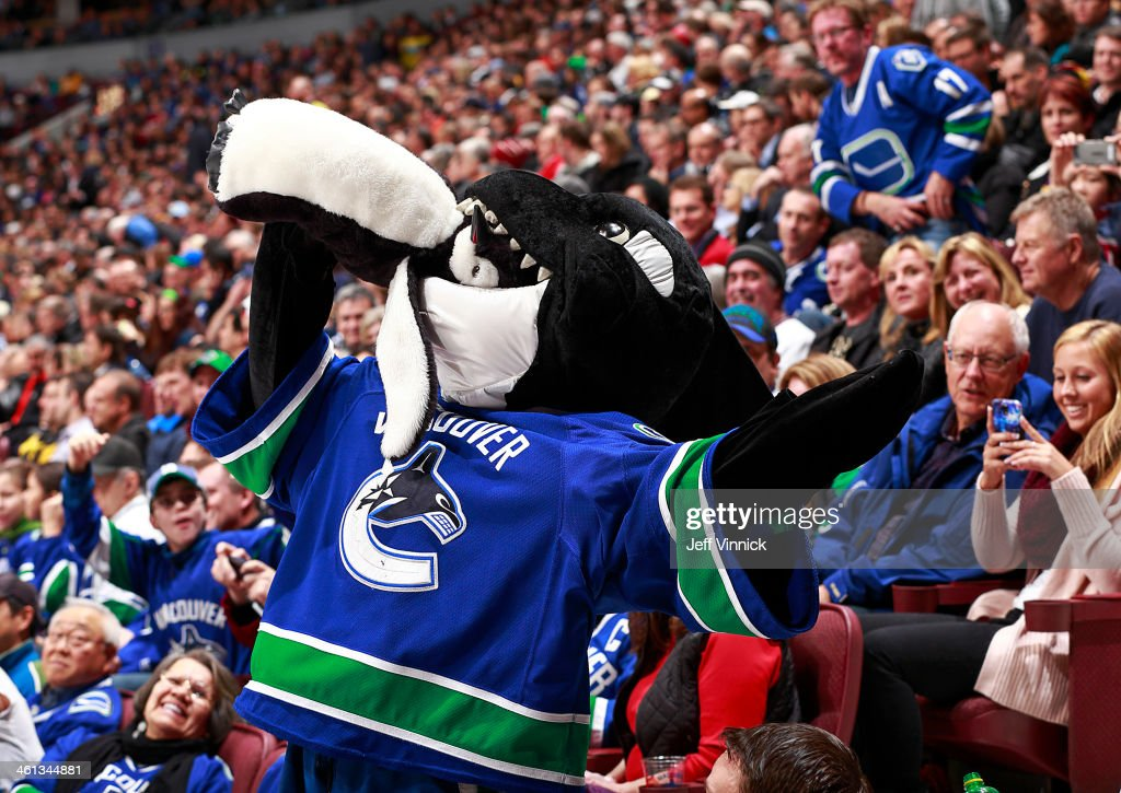 Fin, the Vancouver Canucks mascot, bites a penguin during the NHL game against the Pittsburgh Penguins at Rogers Arena January 7, 2014 in Vancouver, British Columbia, Canada. Pittsburgh won 5-4.