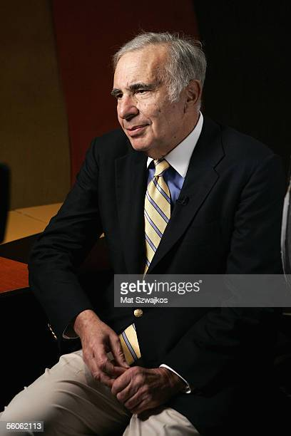 Finacier Carl Icahn is seen being interviewed at 'David Moore's Funny Business Show' at Caroline's on Broadway on November 2 2005 in New York City