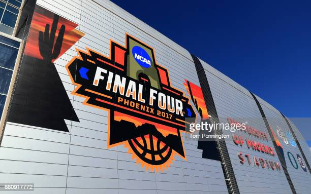 Final Four logos are seen on University of Phoenix Stadium prior to the 2017 NCAA Men's Basketball Final Four on March 30 2017 in Glendale Arizona