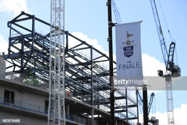 Final match banners are seen near the new stadium development prior to the Premier League match between Tottenham Hotspur and Manchester United at...