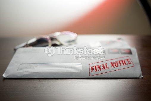Letzte Mahnung Stempel Auf Brief Umschlag Stock Foto Thinkstock