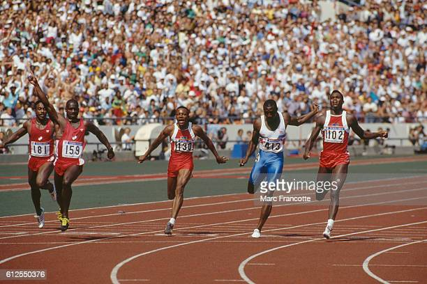 Final of the men's 100meter sprint at the Olympic Games Desai Williams Ben Jonhson Calvin Smith Linford Christie and Carl Lewis Johnson was stripped...