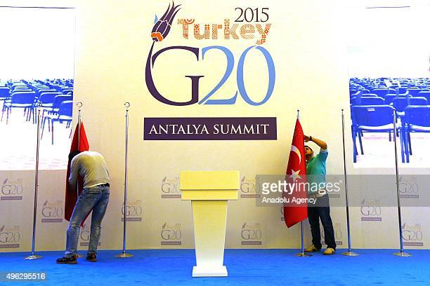 Final preparations are made ahead of the 2015 G20 Antalya summit in Belek Antalya on November 8 2015 The 2015 G20 Antalya summit will be the tenth...