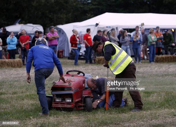Final preparations are made before the British Lawn Mower Racing Association 12 hour British Lawn mower endurance race near Billingshurst Sussex