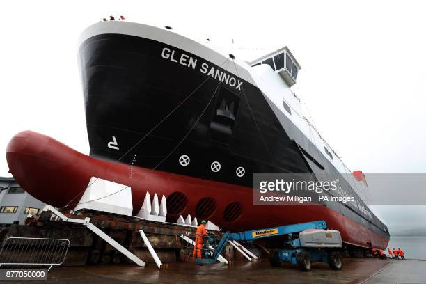 Final preparations are made to the ferry MV Glen Sannox ahead of the launch ceremony for the liquefied natural gas passenger ferry the UK's first LNG...