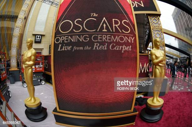 Final preparations for the 2017 Oscars on underway at the red carpet arrivals area February 25 2017 one day before the 89th annual Oscars outside the...