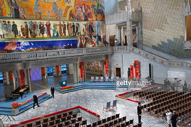 Final preparations inside Oslo City Hall ahead of the Nobel Peace Prize being awarded to Organization for the Prohibition of Chemical Weapons on...