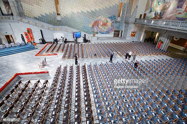 Final preparations inside Oslo City Hall before the Nobel Peace Prize awards ceremony on December 10 2013 in Oslo Norway