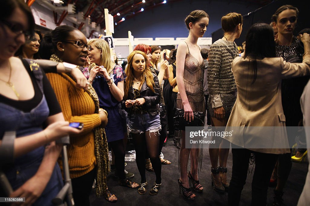 Final preperations are made backstage during Graduate Fashion Week at Earls Court on June 6, 2011 in London, England. The event which began in 1991 showcases emerging talent from BA Graduate fashion design courses across the UK and includes exhibition stands and catwalk shows from around 50 universities.