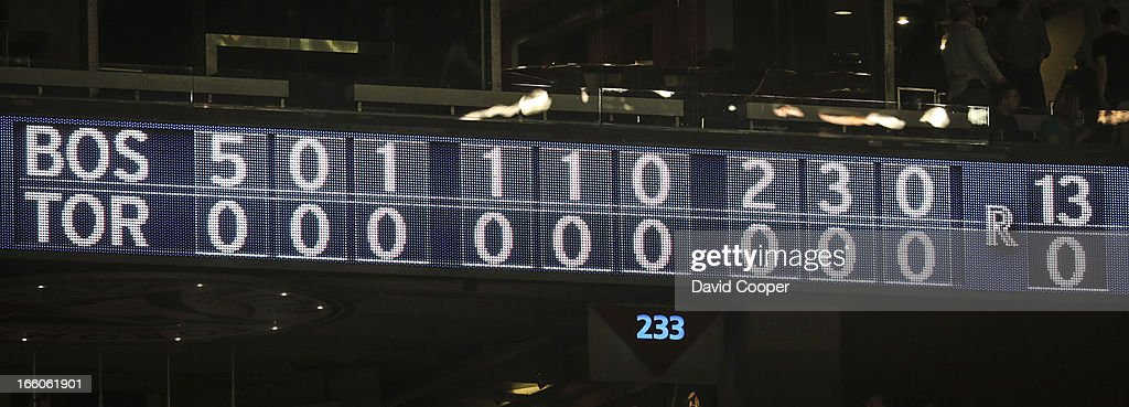 Final score 13-0 as the Toronto Blue Jays loose to the Boston Red Sox at The Rogers Centre.
