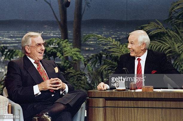 CARSON 'Final Show' Air Date Pictured Cohost Ed McMahon Host Johnny Carson Photo by Alice S Hall/NBCU Photo Bank